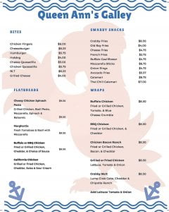Queen Ann's Galley updated Food Menu. You can use the QR code to view menu on ou…