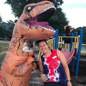 We've got a T-Rex strolling through the campground! See if you can spot him! Hap…